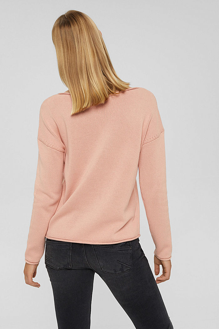 Pullover mit Rollkanten, 100% Bio-Baumwolle, OLD PINK, detail image number 3