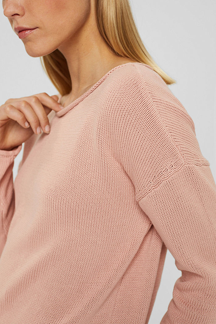 Pullover mit Rollkanten, 100% Bio-Baumwolle, OLD PINK, detail image number 2
