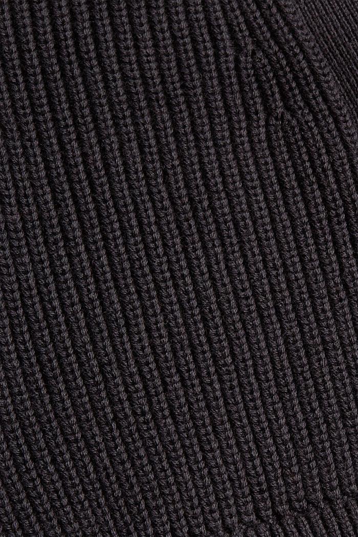 Cárdigan de punto acanalado en 100% algodón ecológico, BLACK, detail image number 4