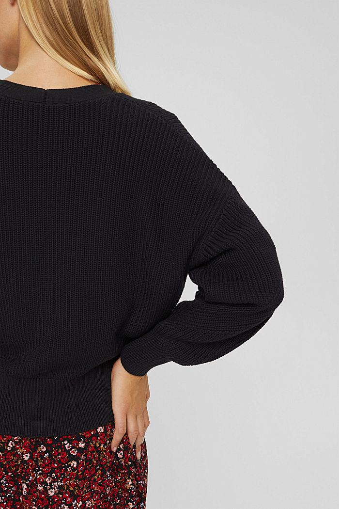 Cárdigan de punto acanalado en 100% algodón ecológico, BLACK, detail image number 5