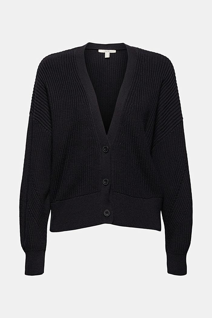 Cárdigan de punto acanalado en 100% algodón ecológico, BLACK, detail image number 6