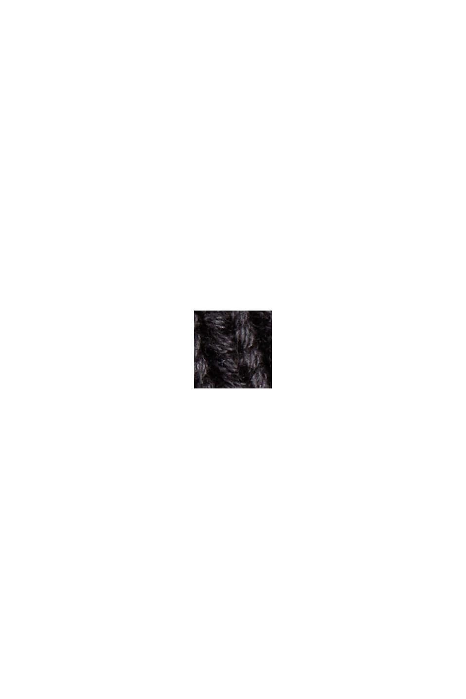 Rippstrick-Cardigan aus 100% Bio-Baumwolle, BLACK, swatch