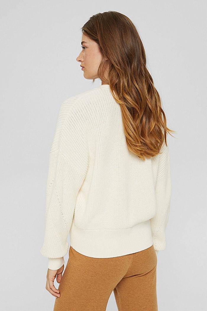 Rippstrick-Cardigan aus 100% Bio-Baumwolle, OFF WHITE, detail image number 3
