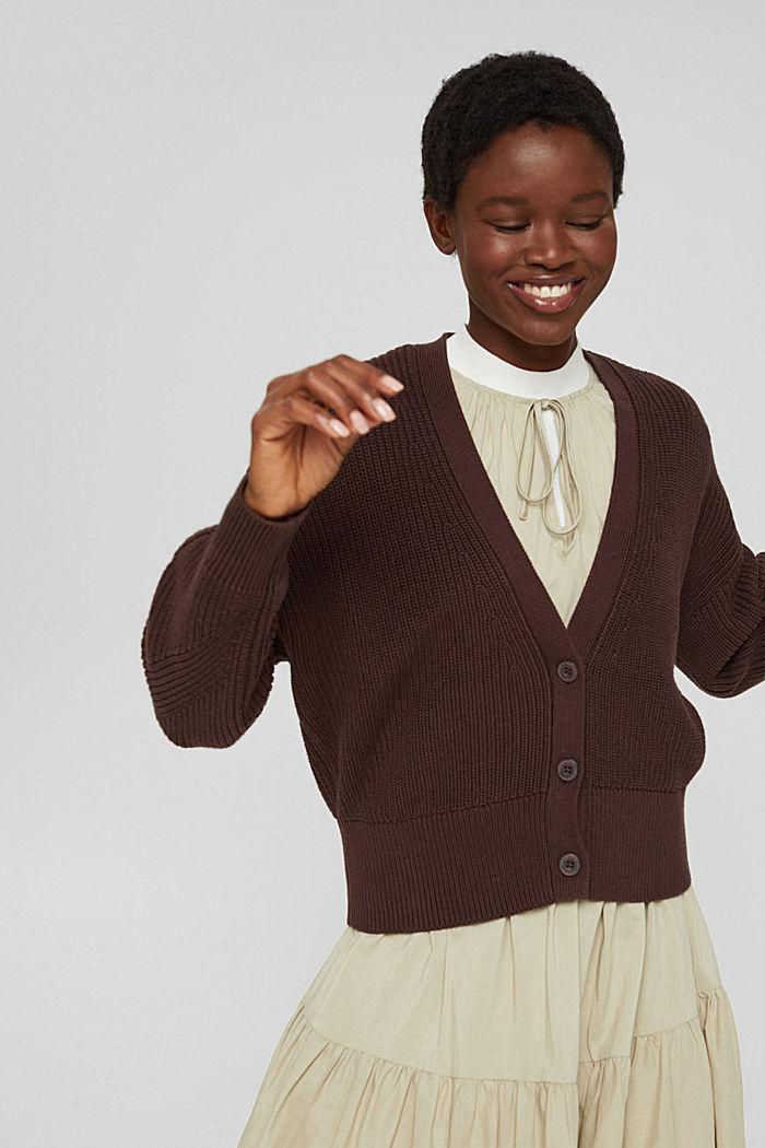 Rippstrick-Cardigan aus 100% Bio-Baumwolle, RUST BROWN, detail image number 0