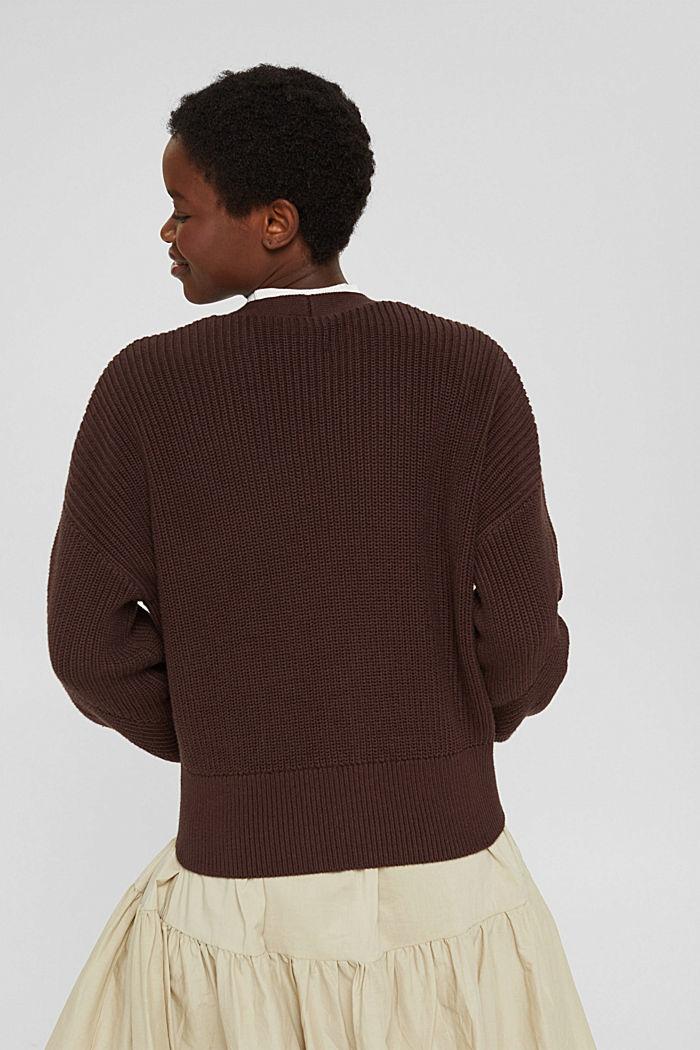 Rippstrick-Cardigan aus 100% Bio-Baumwolle, RUST BROWN, detail image number 3