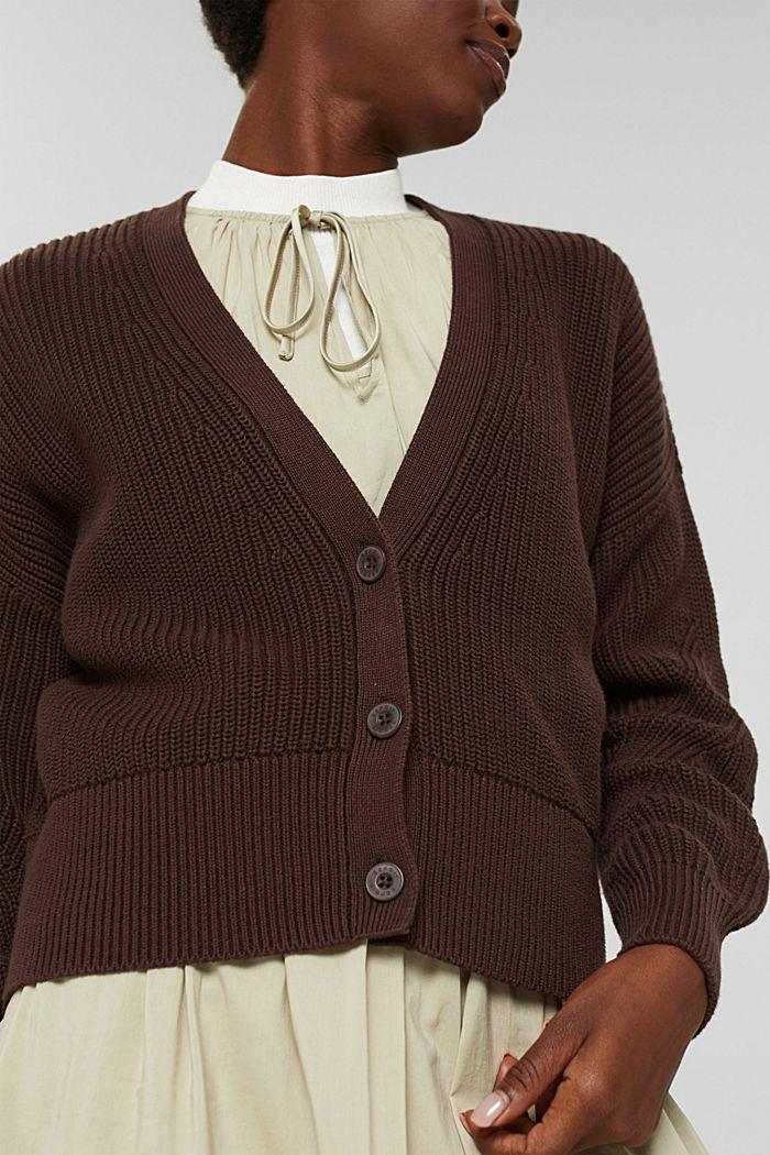 Rippstrick-Cardigan aus 100% Bio-Baumwolle, RUST BROWN, detail image number 2