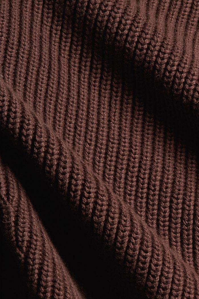 Rippstrick-Cardigan aus 100% Bio-Baumwolle, RUST BROWN, detail image number 4