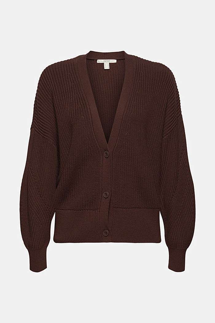 Rippstrick-Cardigan aus 100% Bio-Baumwolle, RUST BROWN, detail image number 5