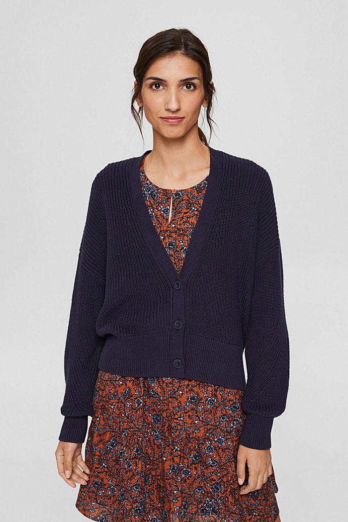 Rib knit cardigan made of 100% organic cotton, NAVY, detail image number 0