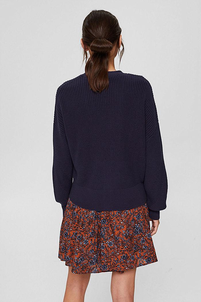 Rib knit cardigan made of 100% organic cotton, NAVY, detail image number 3
