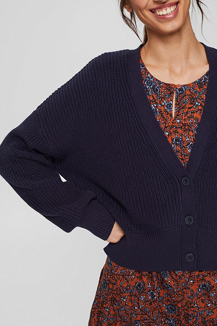 Rib knit cardigan made of 100% organic cotton, NAVY, detail image number 2