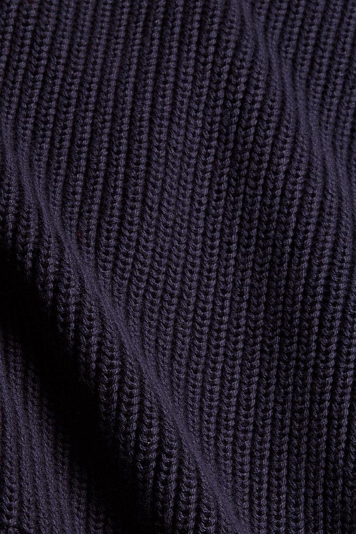 Rib knit cardigan made of 100% organic cotton, NAVY, detail image number 4