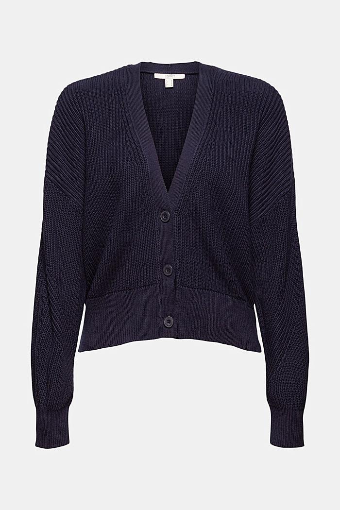 Rib knit cardigan made of 100% organic cotton, NAVY, detail image number 6