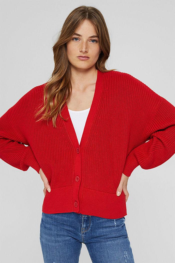 Cardigan en maille côtelée, 100% coton biologique, RED, detail image number 0