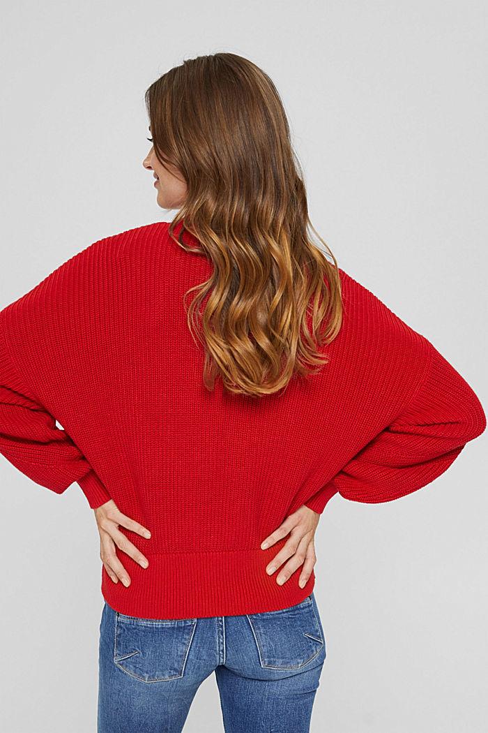 Cardigan en maille côtelée, 100% coton biologique, RED, detail image number 3