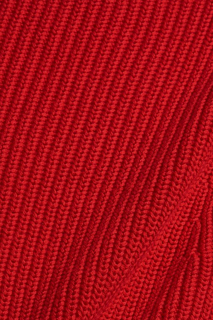 Cardigan en maille côtelée, 100% coton biologique, RED, detail image number 4
