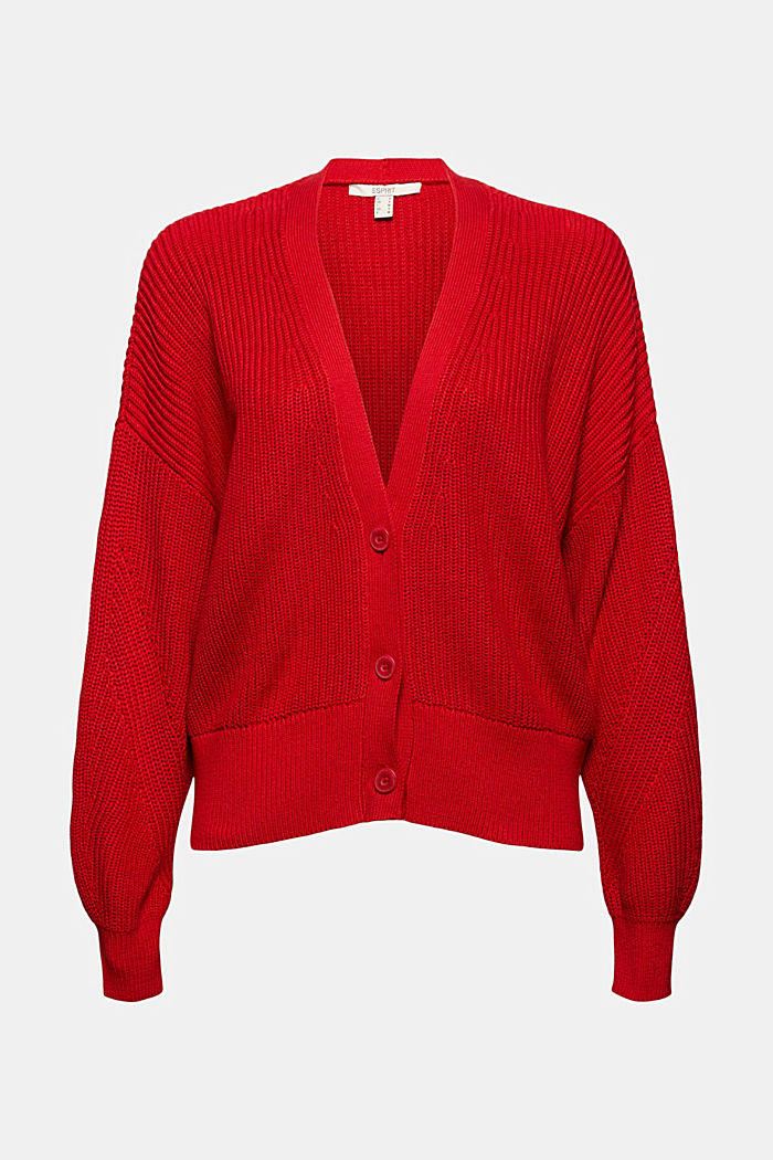 Cardigan in maglia a coste in 100% cotone biologico