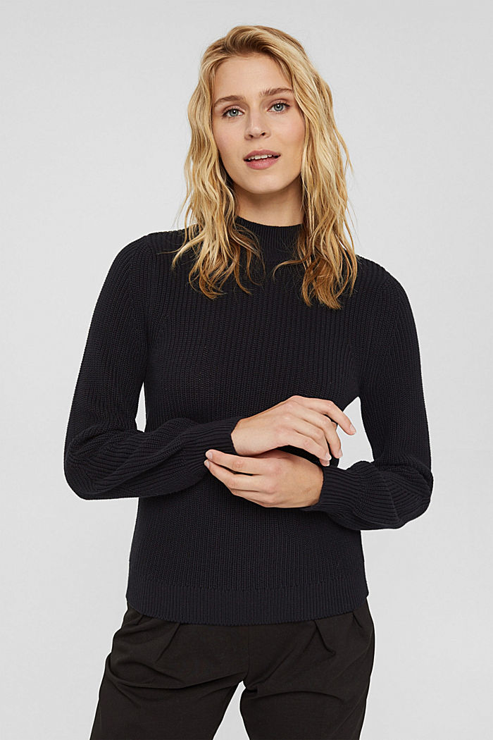 Jumper with a stand-up collar, 100% organic cotton, BLACK, detail image number 0