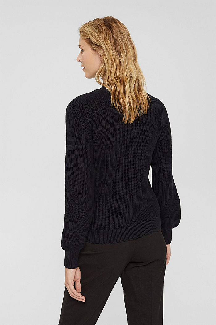 Jumper with a stand-up collar, 100% organic cotton, BLACK, detail image number 3