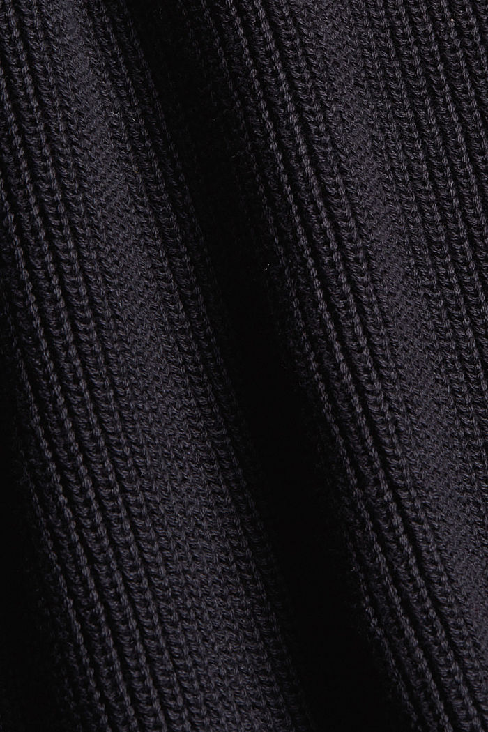 Jumper with a stand-up collar, 100% organic cotton, BLACK, detail image number 4