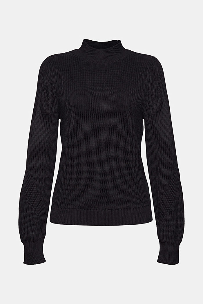 Jumper with a stand-up collar, 100% organic cotton, BLACK, detail image number 5