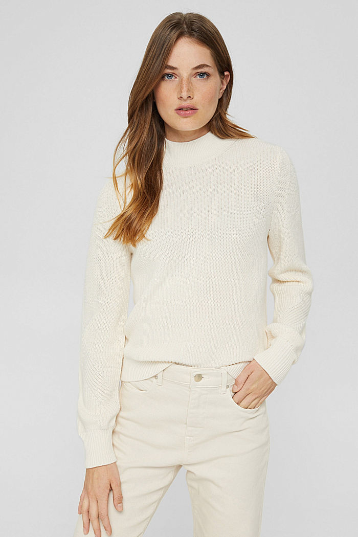 Jumper with a stand-up collar, 100% organic cotton, OFF WHITE, detail image number 0