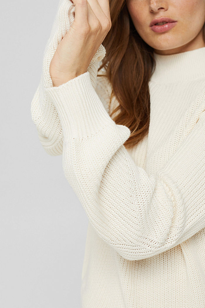Jumper with a stand-up collar, 100% organic cotton, OFF WHITE, detail image number 2