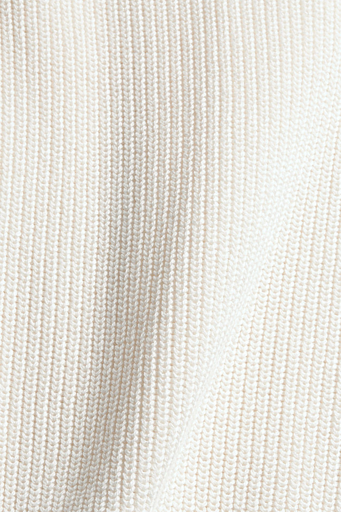 Jumper with a stand-up collar, 100% organic cotton, OFF WHITE, detail image number 4