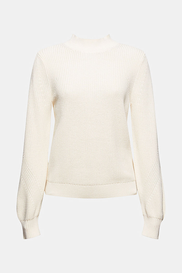 Jumper with a stand-up collar, 100% organic cotton, OFF WHITE, detail image number 5