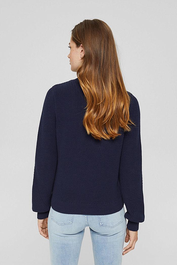 Stehkragen-Pullover aus 100% Bio-Baumwolle, NAVY, detail image number 3