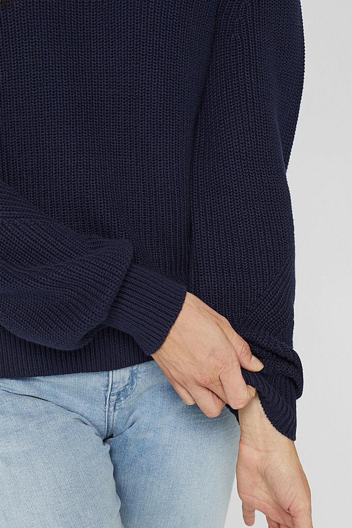 Stehkragen-Pullover aus 100% Bio-Baumwolle, NAVY, detail image number 2