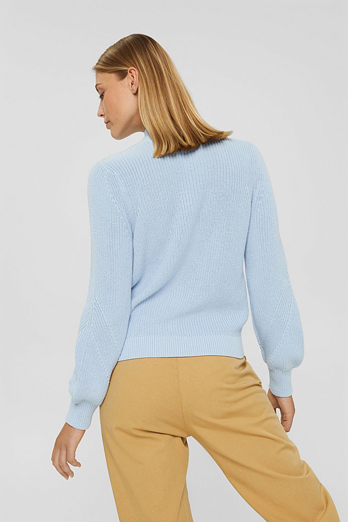 Jumper with a stand-up collar, 100% organic cotton, PASTEL BLUE, detail image number 3