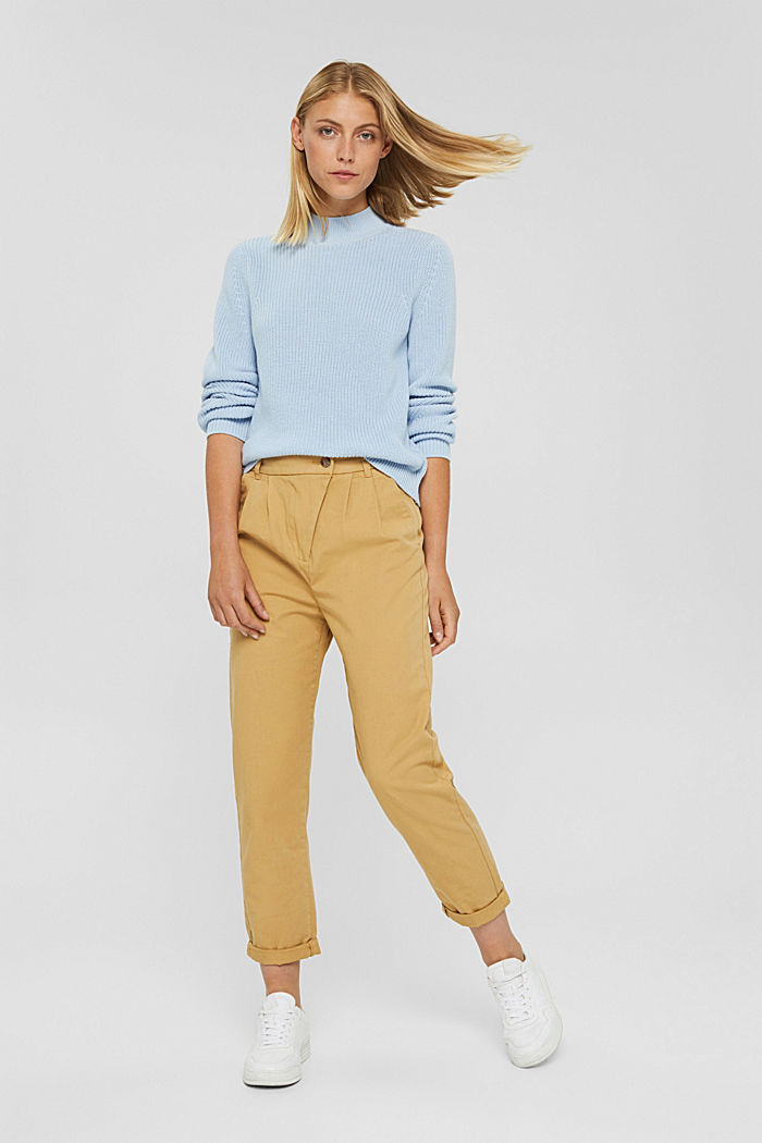 Jumper with a stand-up collar, 100% organic cotton, PASTEL BLUE, detail image number 1