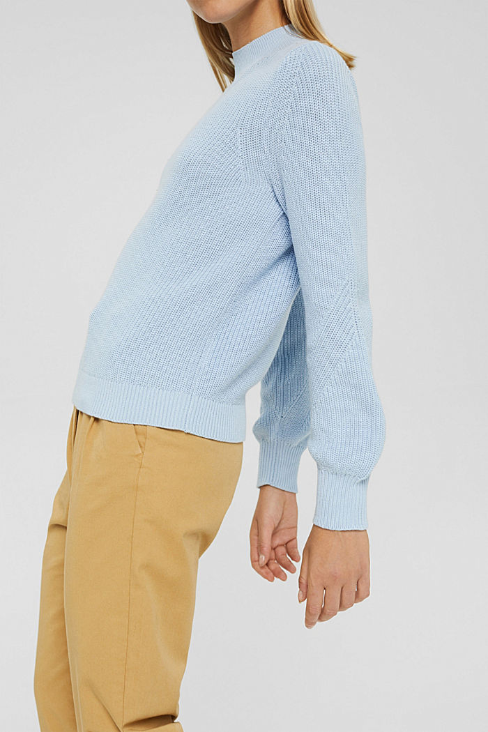 Jumper with a stand-up collar, 100% organic cotton, PASTEL BLUE, detail image number 2
