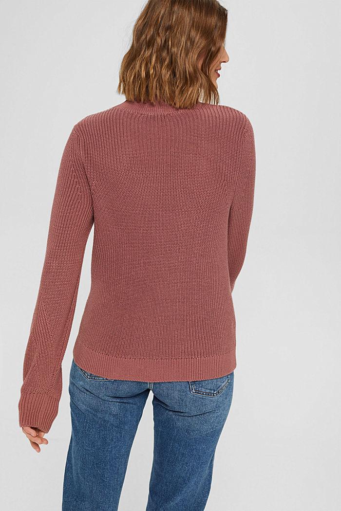 Stehkragen-Pullover aus 100% Bio-Baumwolle, DARK OLD PINK, detail image number 3