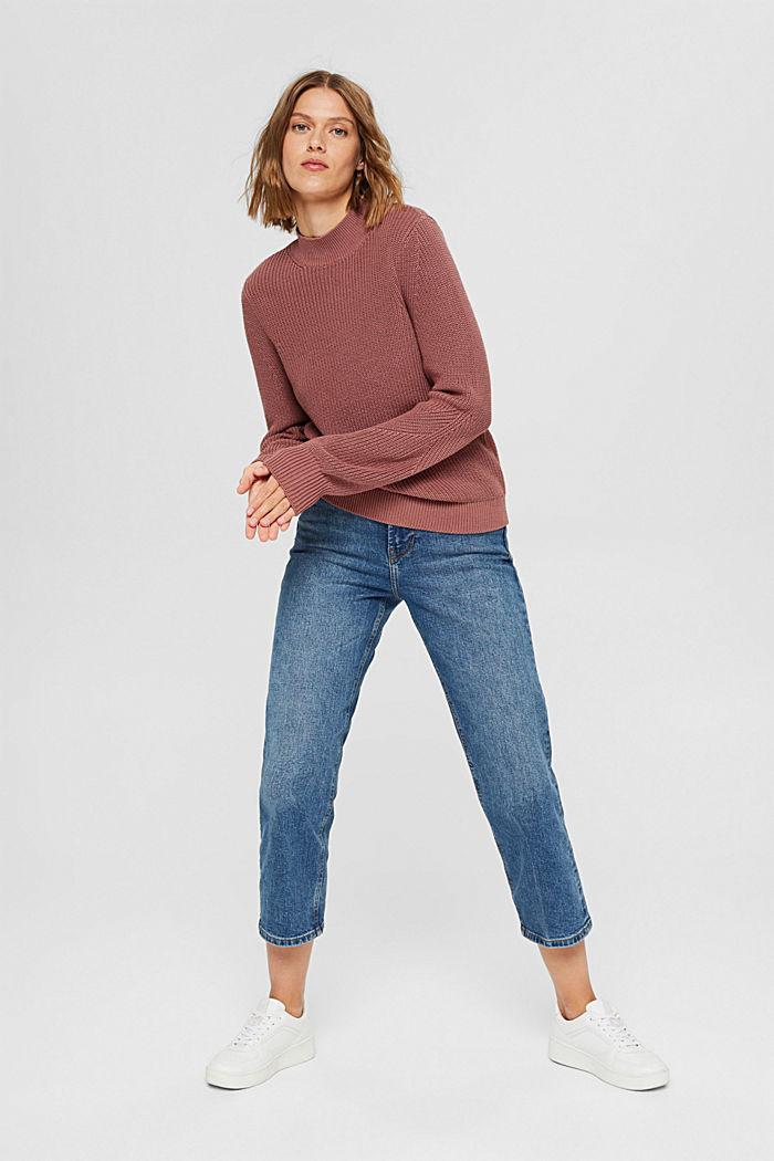 Stehkragen-Pullover aus 100% Bio-Baumwolle, DARK OLD PINK, detail image number 1