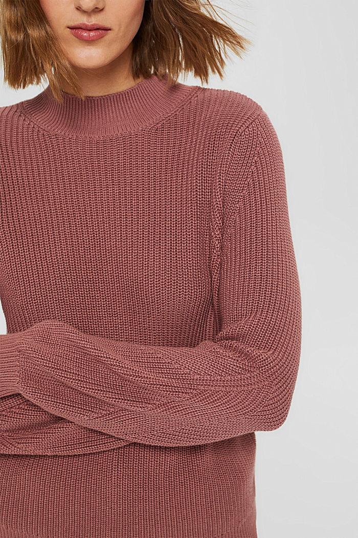 Stehkragen-Pullover aus 100% Bio-Baumwolle, DARK OLD PINK, detail image number 2