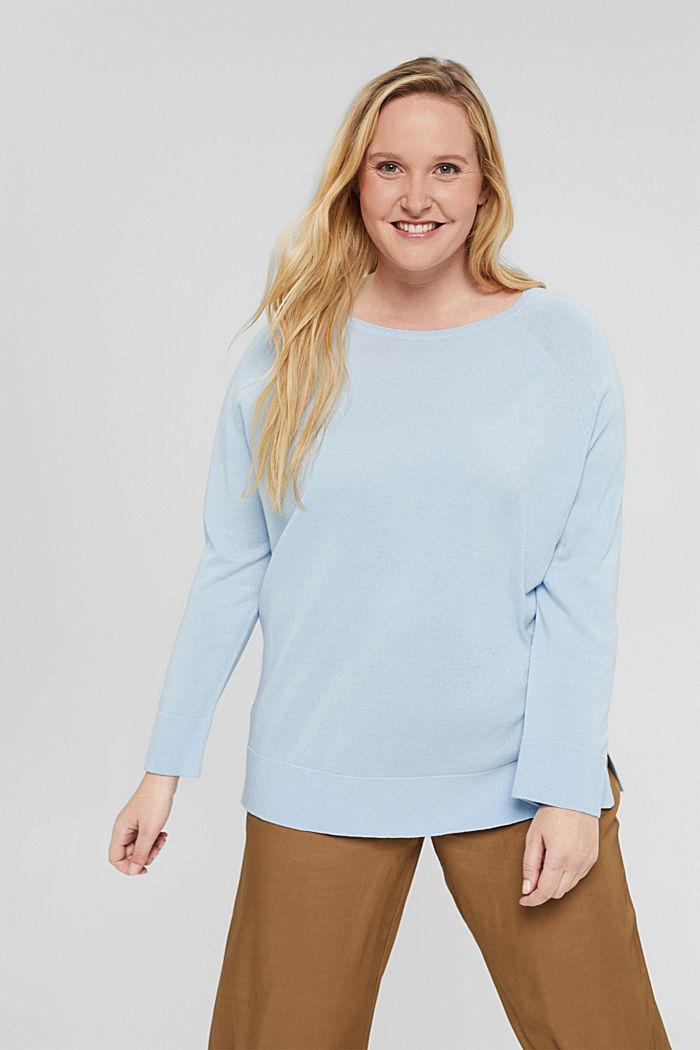 CURVY Pullover aus 100% Pima-Baumwolle, PASTEL BLUE, detail image number 0