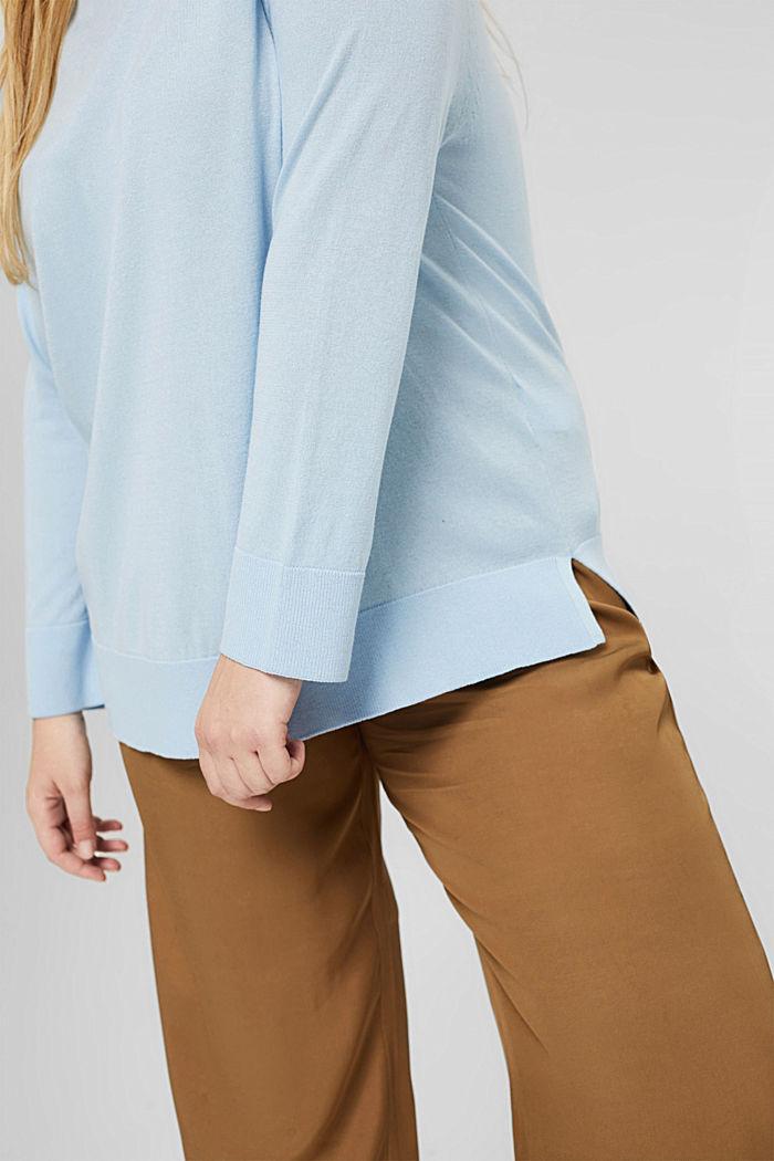 CURVY Pullover aus 100% Pima-Baumwolle, PASTEL BLUE, detail image number 2