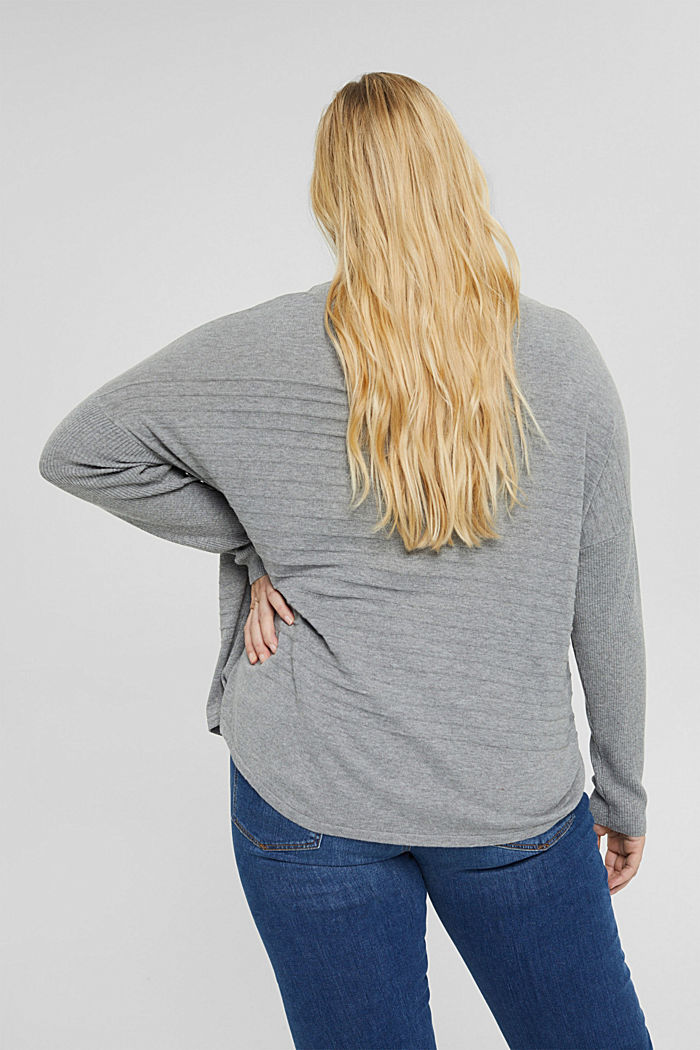 CURVY striped jumper made of blended organic cotton, MEDIUM GREY, detail image number 3
