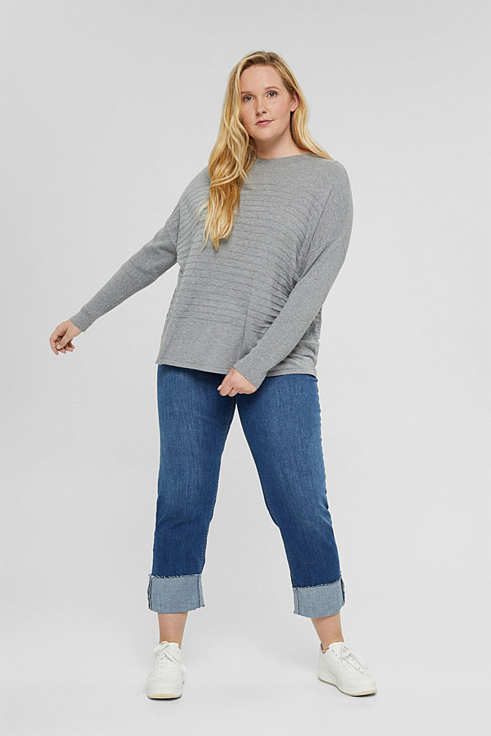 CURVY striped jumper made of blended organic cotton, MEDIUM GREY, detail image number 1