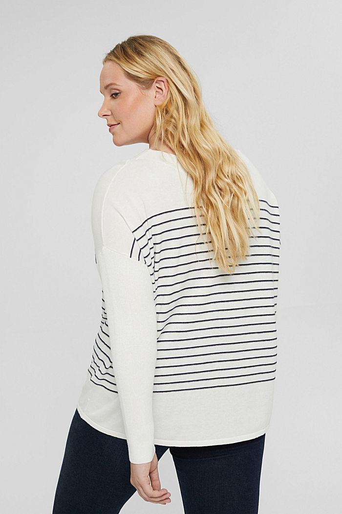 CURVY Streifen-Pullover aus Bio-Baumwoll-Mix, OFF WHITE, detail image number 3