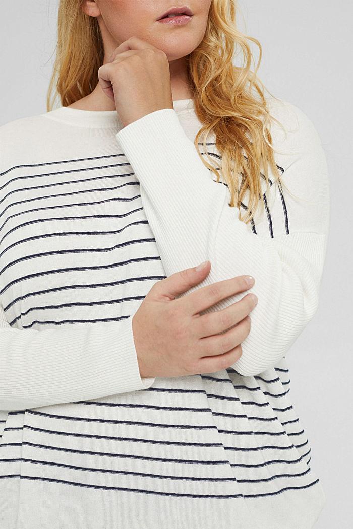 CURVY Streifen-Pullover aus Bio-Baumwoll-Mix, OFF WHITE, detail image number 2