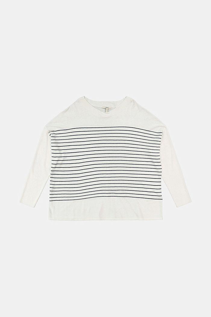 CURVY Streifen-Pullover aus Bio-Baumwoll-Mix, OFF WHITE, detail image number 4