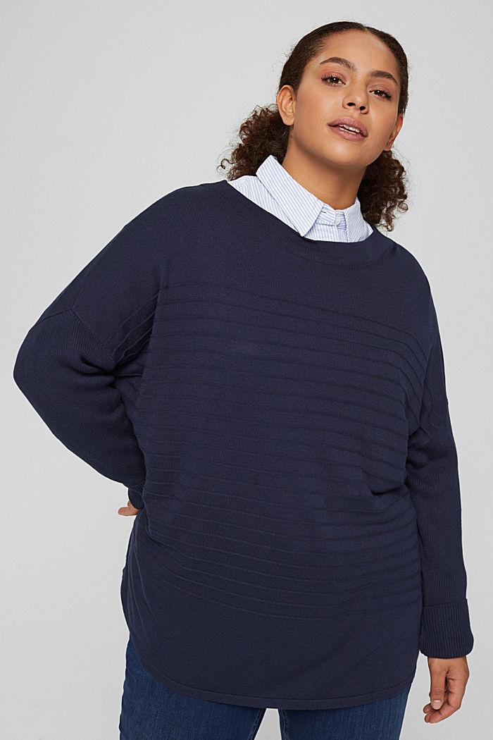 CURVY Streifen-Pullover aus Bio-Baumwoll-Mix, NAVY, detail image number 0