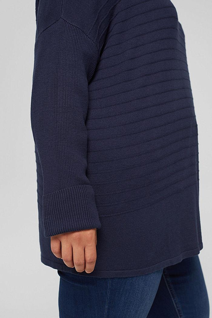 CURVY Streifen-Pullover aus Bio-Baumwoll-Mix, NAVY, detail image number 2