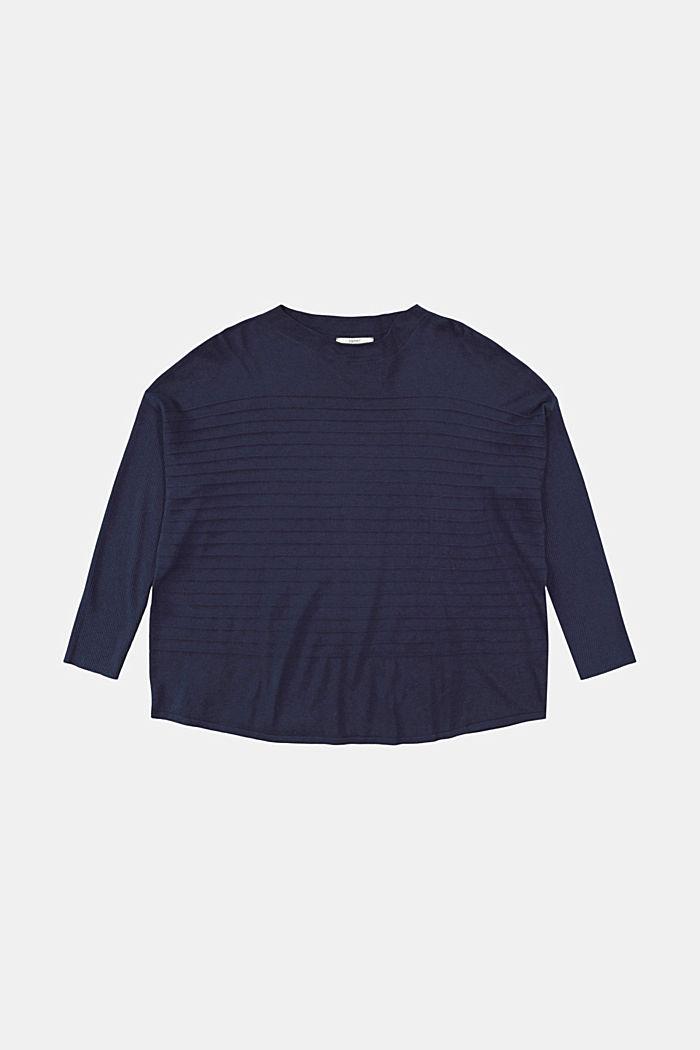 CURVY Streifen-Pullover aus Bio-Baumwoll-Mix, NAVY, detail image number 6