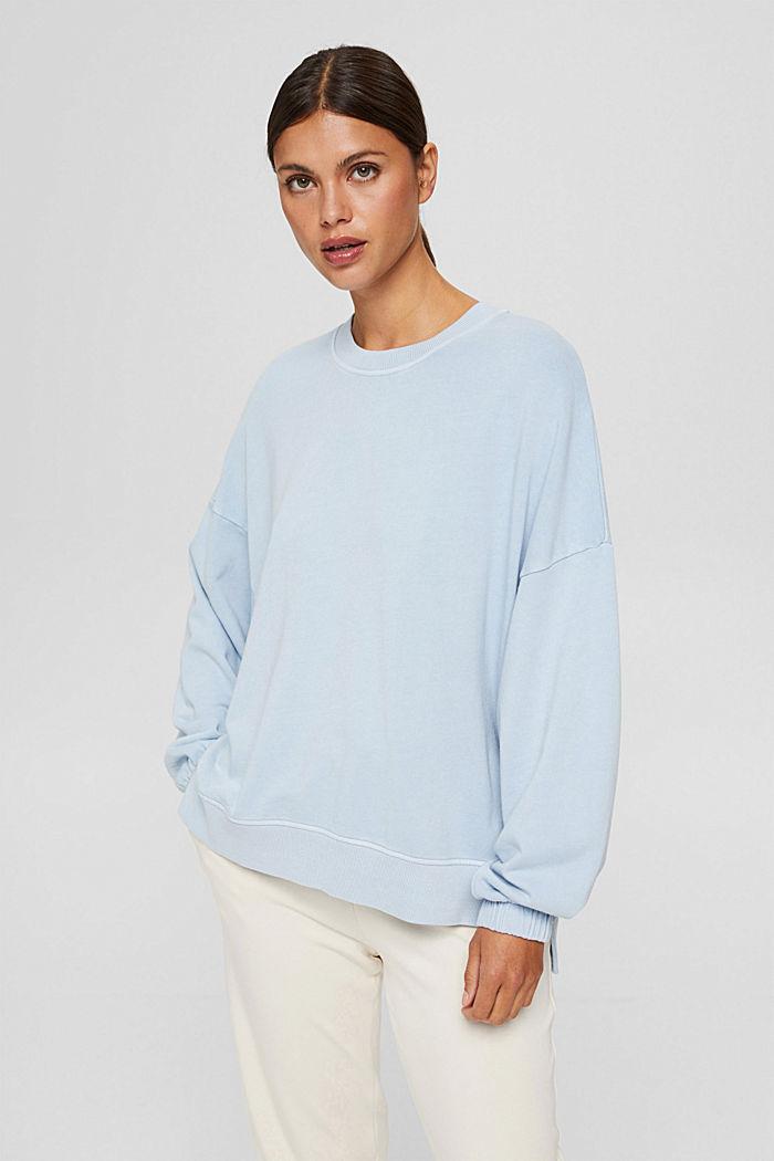 High-Low-Sweatshirt aus 100% Bio-Baumwolle, PASTEL BLUE, detail image number 0