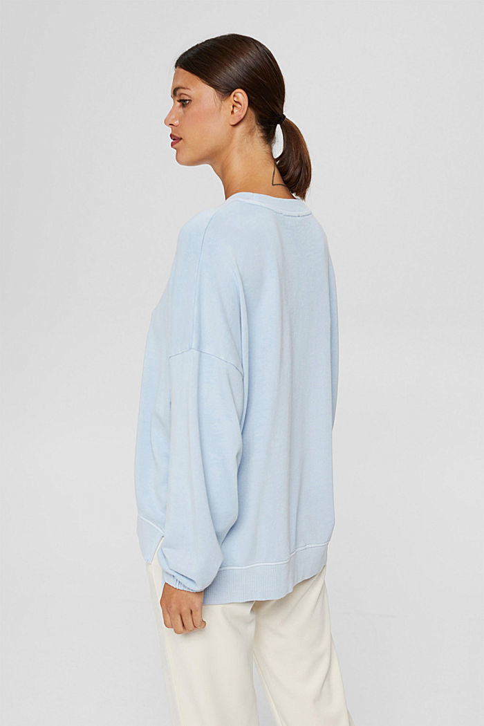 High-Low-Sweatshirt aus 100% Bio-Baumwolle, PASTEL BLUE, detail image number 3
