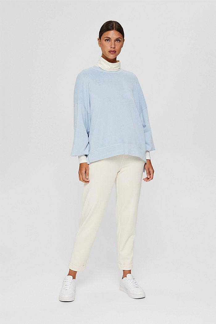 High-Low-Sweatshirt aus 100% Bio-Baumwolle, PASTEL BLUE, detail image number 1